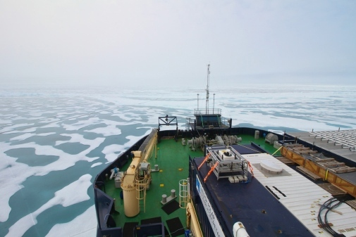 The foredeck of the icebreaker Oden in the East Siberian Sea during the SWERUS-C3