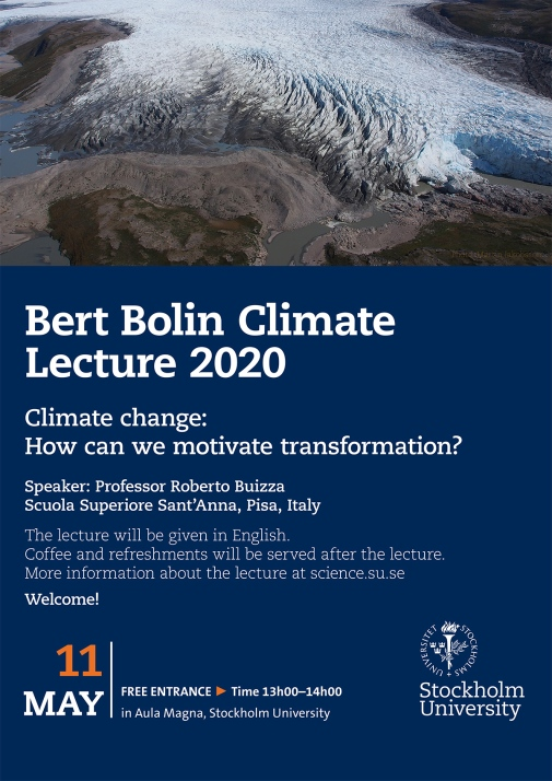 2020 Bert Bolin Climate Lecture flyer